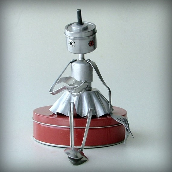 The Love Letter - robot recycled art sculpture