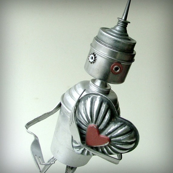 valentine tinman robot - recycled assemblage art