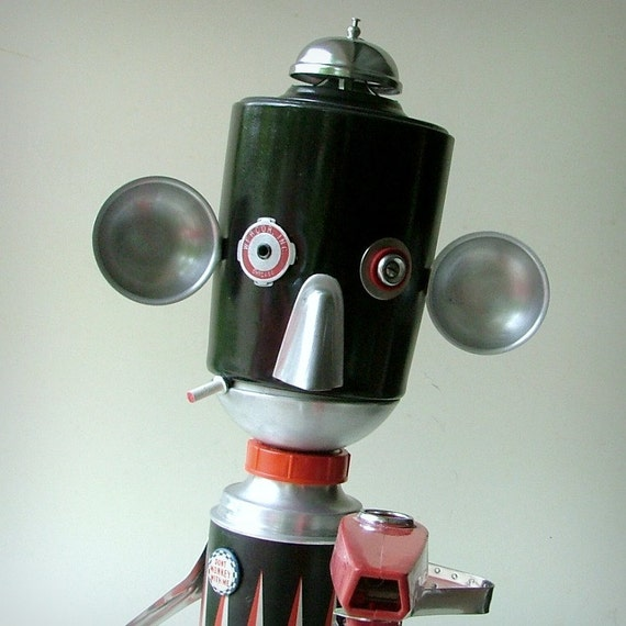 Robot Art Assemblage - The Tough Guy - Green Recycled Art