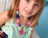 Preorder Custom made M2M Little Wellies Water bouquet outfit Chunky Necklace for girls