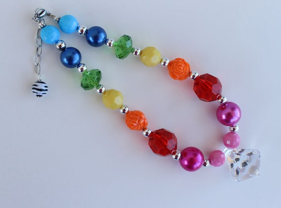 Rainbow Bright Pink bottom Chunky Necklace for Little Girls