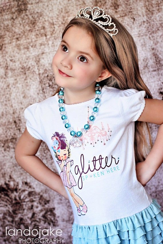 Made to match Bridget & Co Glitter Spoken Here Dress Chunky Necklace for Girls