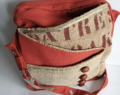 brown button burlap bag - FREE scarf