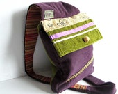 purple orchid messenger bag with wooden bead - FREE scarf