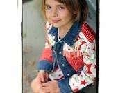 DeepBlueC Custom Boutique ANGEL BABY Holiday Girls Jean Jacket 1-8 yrs.