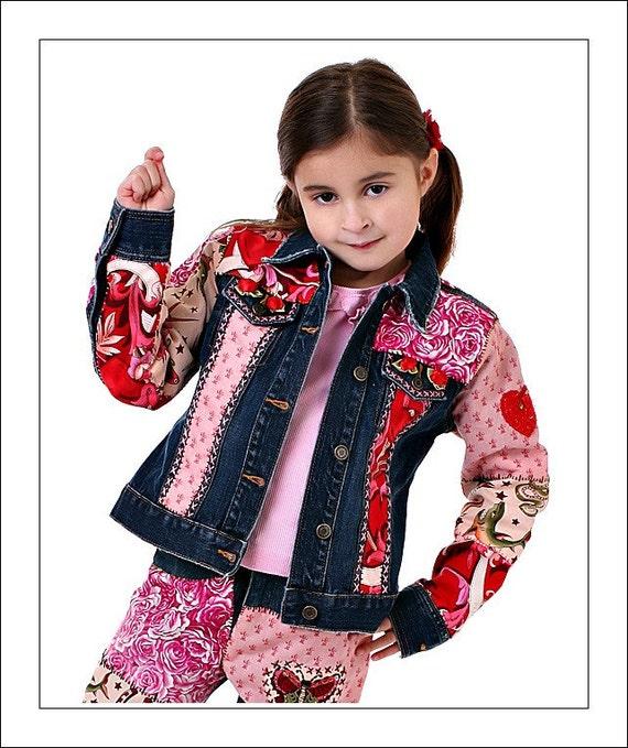 DeepBlueC Totally Custom DIY Hand Embellished Kids Jean Jacket  Boy or Girl sz. 1-10