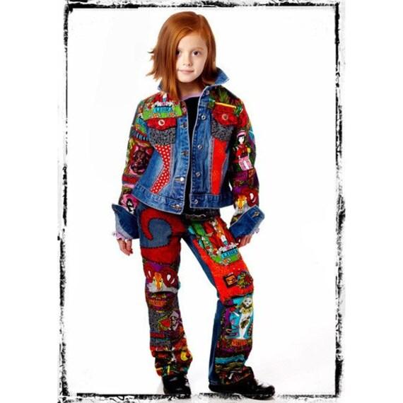 DeepBlueC Boutique ASTRO GIRL Zodiac Custom Hand Embellished Jeans 1-10