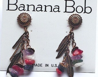Banana Bob Feather Dangle Earrings