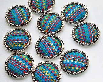 Woven Fabric Covered Cabochons 25 mm Round