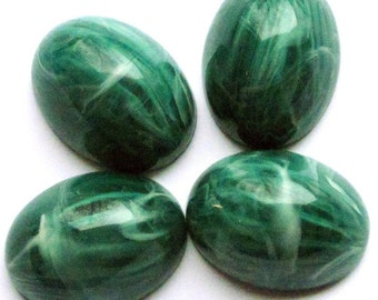 Vintage Jumbo Lucite Cabochons Emerald Swirl