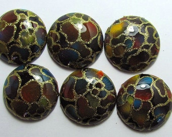 Painted Lucite Round Cabochons