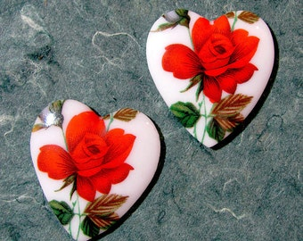 Vintage Glass Heart Rose Cabochons 2 pieces