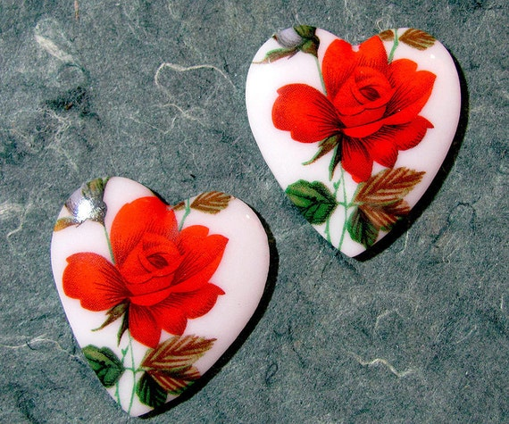 Vintage Glass Heart Rose Cabochons