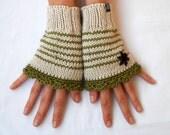 Luxury hand knitted SILK / MERINO hand warmers with flower in Cream / Green / Brown