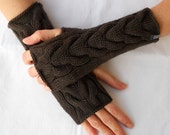 Hand knitted fingerless gloves with CABLE knit pattern in DARK CHOCOLATE