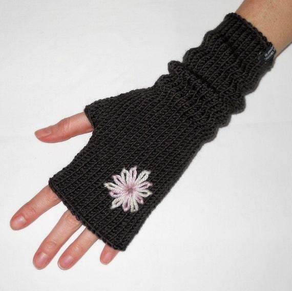 FREE SHIPPING - MERINO blend hand knitted fingerless gloves with flower in Dark Chocolate