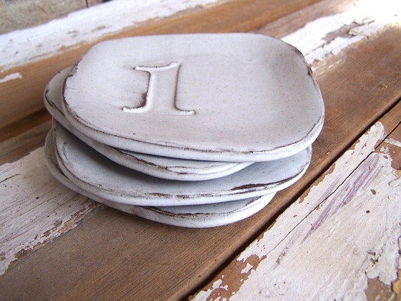 Vintage Stamp Numbers Set of Four Rustic Stoneware White Plates Small Reserved for Adrienne