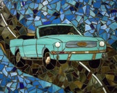 Stained Glass, Mosaic Table, Classic 1964, Ford Mustang, for Him
