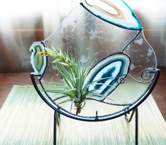 Elegant Frosted Stained Glass Airplant Panel in Stand