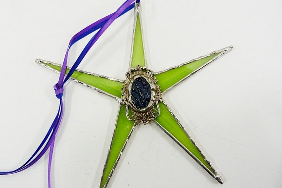 Whimsical Victorian Lime Green Stained Glass Star
