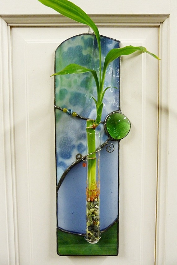 Bamboo Glass Panels : Beautiful blues lucky bamboo stained glass panel