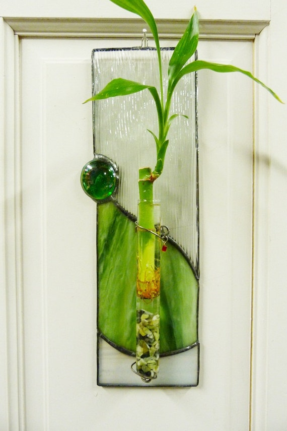 Bamboo Glass Panels : Panda forest bamboo plant stained glass panel