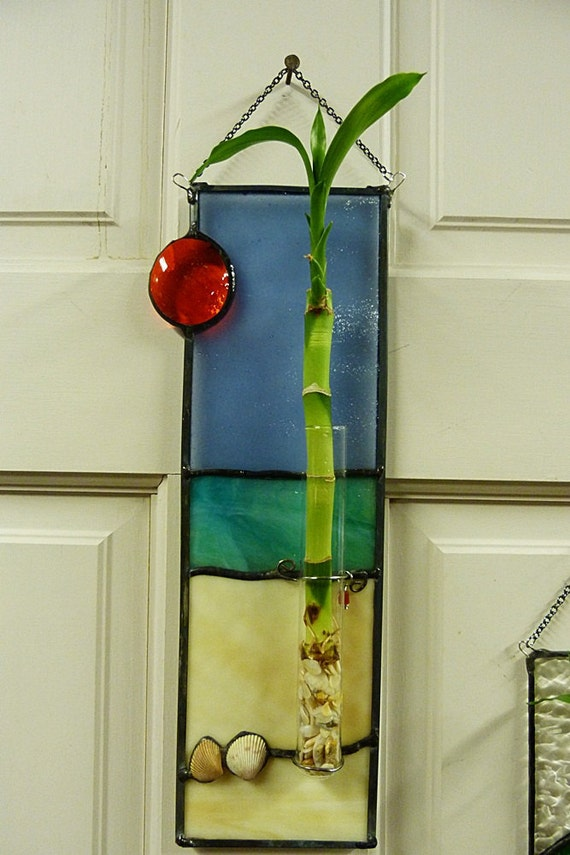 Palm Tree on the Beach Stained Glass Lucky Plant Panel