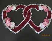 New Crocheted Double Heart Doily Burgundy Cottage Style Victorian
