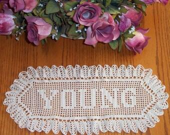 Crochet name doily wedding gift