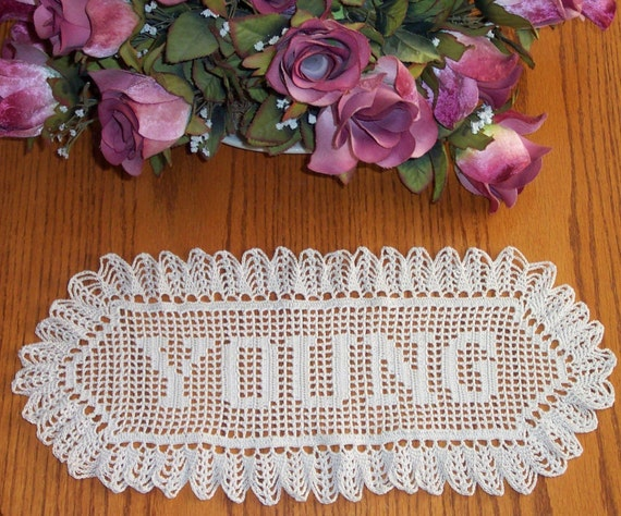 Crochet Wedding Gift: Items Similar To Crochet Name Doily Wedding Gift On Etsy