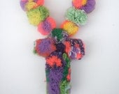 Small pom pom cross necklace- Red,Purple and Green