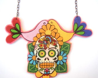 Large green,yellow and orange sugar skull necklace