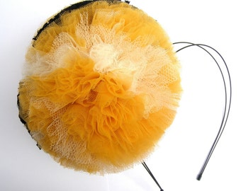 Large Mustard, Ivory and Black Pom Pom Headband