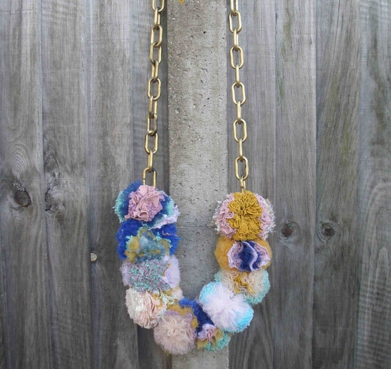 Giant pom pom necklace blue/pink/mustard/mint/lilac/nude