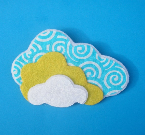 Large Yellow, White and Blue Cloud Brooch