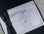 Luxury Wedding Invitation Pocket Fold Set - Dawn vintage hollywood glam -