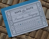 Save the Date and Envelope - Pam Vintage Punch Card Ticket -