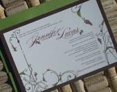 Custom Wedding Invitation- hand drawn whimsical flowers, garden wedding-
