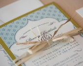Country Chic Wedding Invitation- Rustic Invitation, barn wedding, pattern with frame invitation SAMPLE