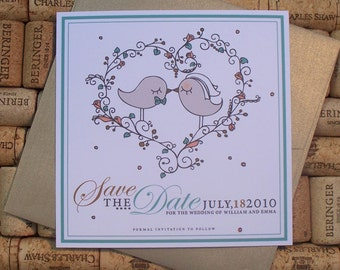 Save The Date Love Birds invitations, custom illustrated - Emma Kissing Love Birds -