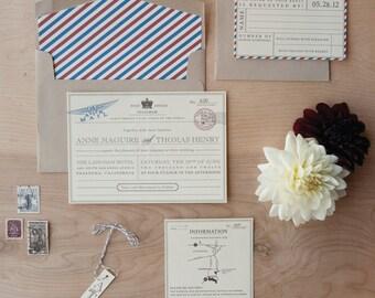 Vintage Travel Wedding Invitation - Destination Wedding Invitation, telegram invitation, travel theme invitation SAMPLE
