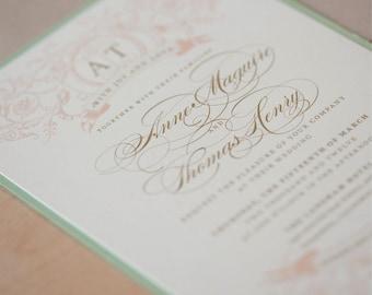 Wedding Invitation, Mint and Blush Wedding Invitation, Vintage Wedding, by Jen Simpson Design DEPOSIT