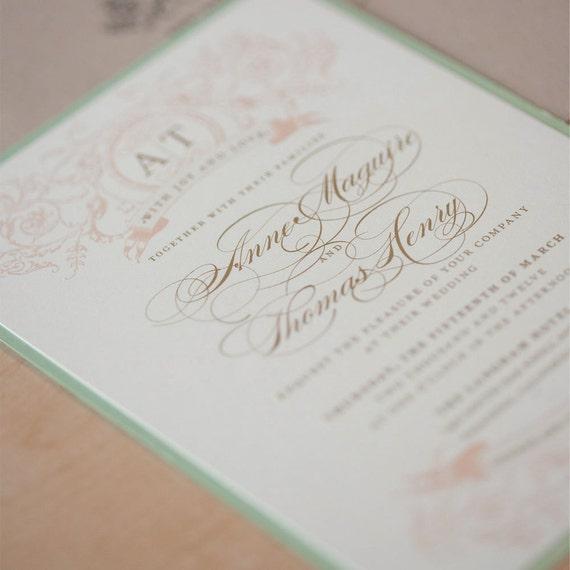 Wedding Invitation Rustic, Mint and Blush Wedding Invitation, Vintage Wedding, Romantic Invitation, Afternoon Tea Wedding - SAMPLE