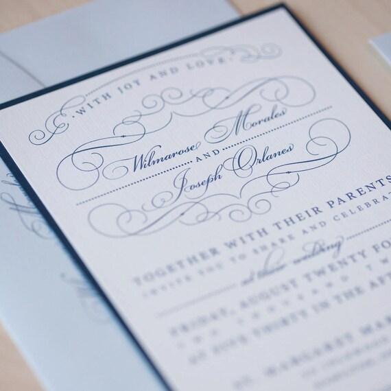 Wedding Invitation, vintage invitation, romantic flourish wedding invitation with bakers twine and tag with date.