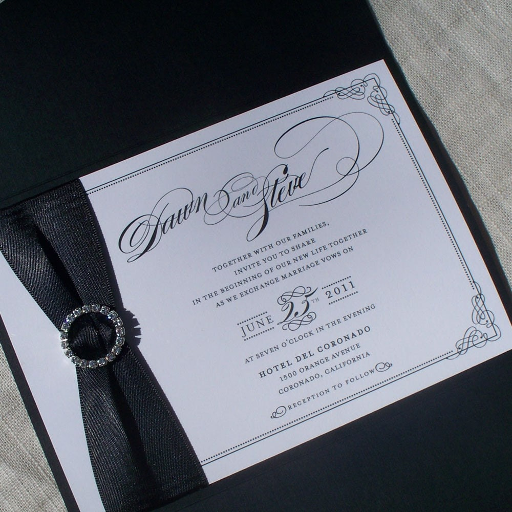 Wedding Invitations With Pockets: Luxury Wedding Invitation Pocket Fold Set Dawn Vintage