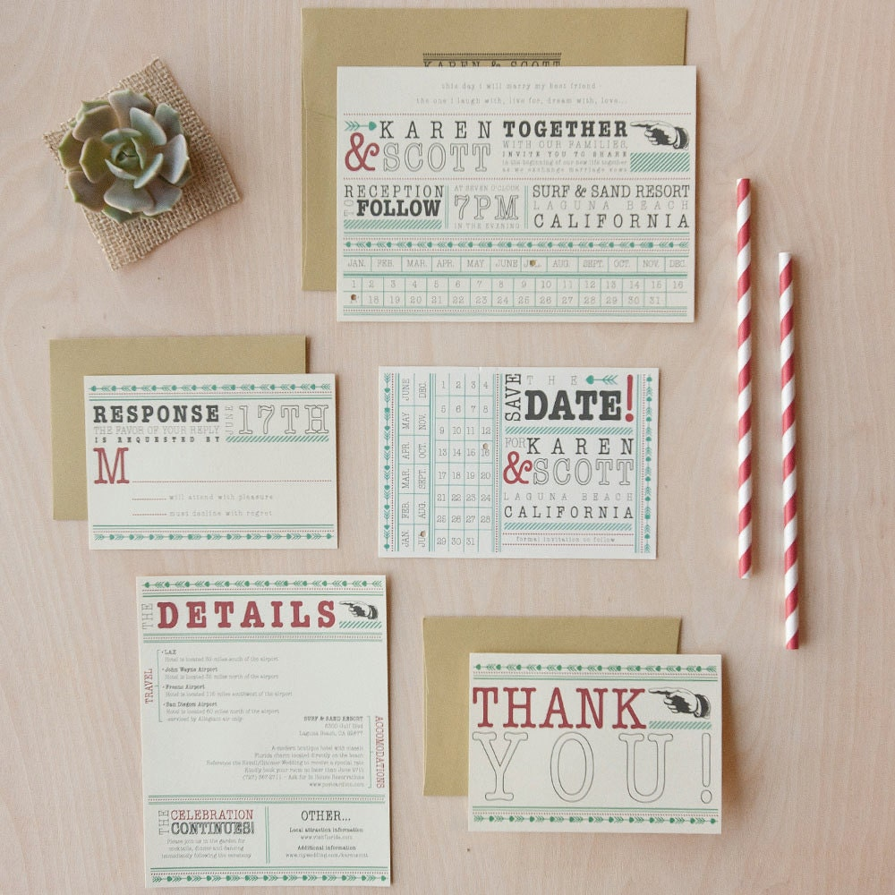 Punch Card Wedding Invitation Offbeat Invitation Fun Quirky