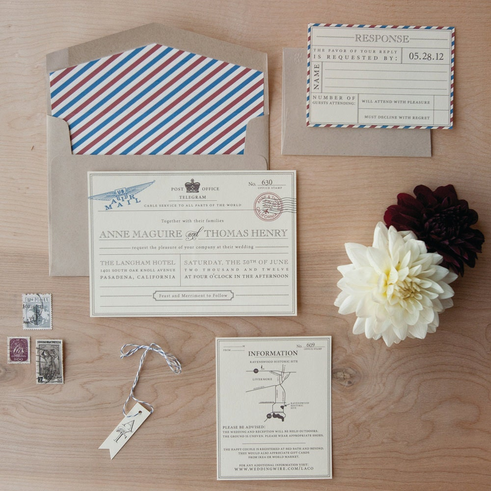 Vintage Travel Wedding Invitation Destination