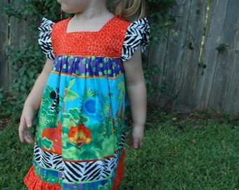 OOAK - Custom Boutique Girls Dress - Please take me to the ZOO - ButterfliKisses - Size 3