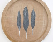 sycamore wood plate // handpainted design // three feathers by natasha newton