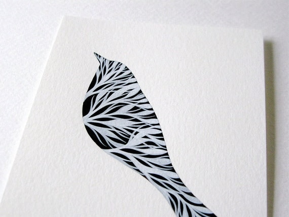 original monochrome watercolour painting // silhouette of a bird with branches 2 // by natasha newton